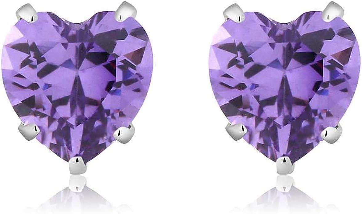 925 Sterling Silver 6mm Purple CZ Star Stud Earrings 9526