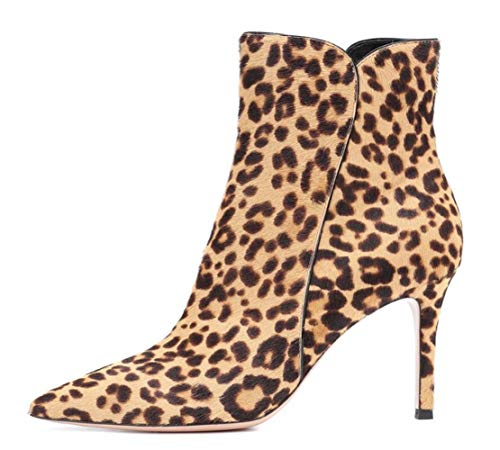 Banquet Leopard Stiletto Boots Heels Chaussures Leopardprint Pour Shiney Ankle Femmes Single Pointed Ladies Wedding BfxvRqt