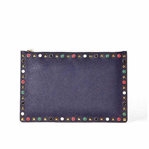 bag30 enveloppe Bleu pochette vache de rivet black peau sac cm Marine 20 wqRYXW7