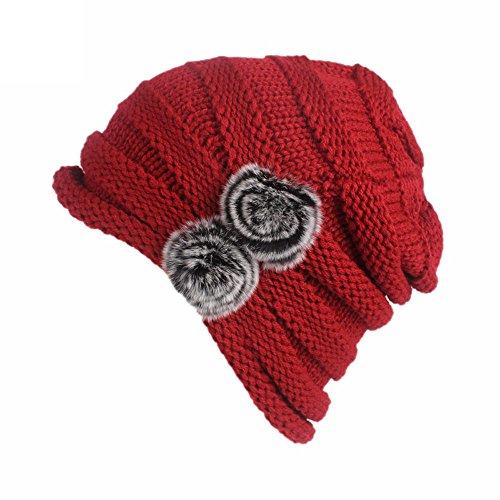 - URIBAKE Women's Winter Crochet Wool Knitting Hat Turban Brim Ladies' Hat Cap Pile Cap