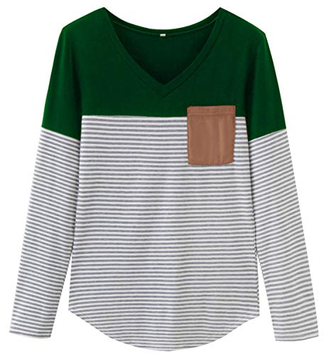 Finoceans Retro Knit Striped Pullover Suede Pockets Fall Women Sweatshirts Green (Designer Clothing Retro)