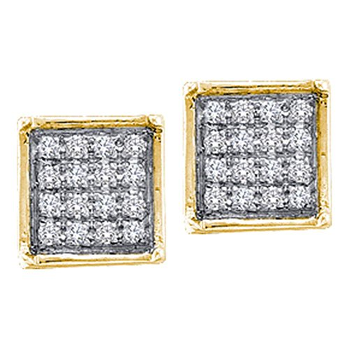 10KT Yellow Gold Round Diamond Square Cluster Earrings 0.48 Cttw