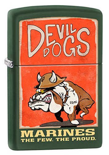 (Zippo US Marines Devil Dogs Green Matte Pocket Lighter)