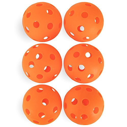 Crown Sporting Goods 6-Pack of 12-inch Plastic Softballs – Perforated Practice Balls for Sports Training & Wiffle Ball (Orange) -