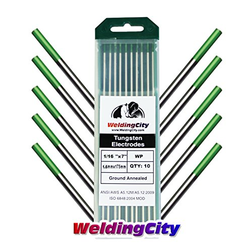 Tungsten Rod (WeldingCity 10-pk Premium TIG Welding Tungsten Electrode Rod Pure (Green, EWP) 1/16