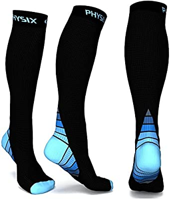 Physix Gear Compression Socks for Men & Women (20 - 30 mmhg) Best Graduated Athletic Fit for Running, Nurses, Shin Splints, Flight Travel & Maternity Pregnancy - Boost Stamina, Circulation & Recovery