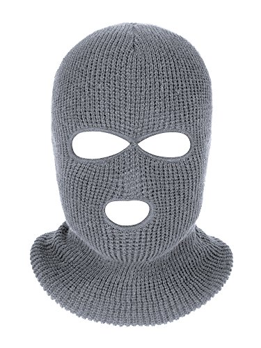 Satinior 3-Hole Knitted Full Face Cover Ski Mask, Adult Winter Balaclava Face Mask Warm Knit Full Face Mask for Outdoor Sports (Grey)