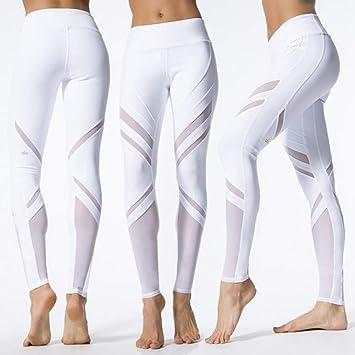 YOGOAOO Leggings De Mujer Malla Patchwork Leggings Deportes ...