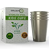 #8: Stainless Steel Cups for Kids 8 oz Set of 4