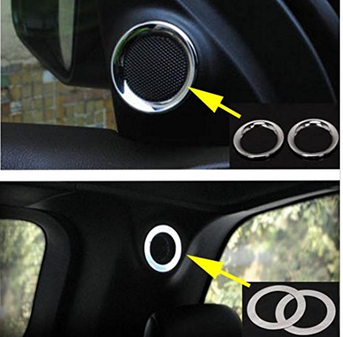 Nicebee 4 x Front & Rear Seats Up Mini Speaker Trims Bezel Horn Covers Stainless Steel For Jeep Grand Cherokee 2011-2015 (Speaker Cover Bezel)