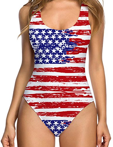 Uideazone Women American Flag Patriot One Piece Bathing Suit Funny Printed Padded Swimsuit Beach Wear