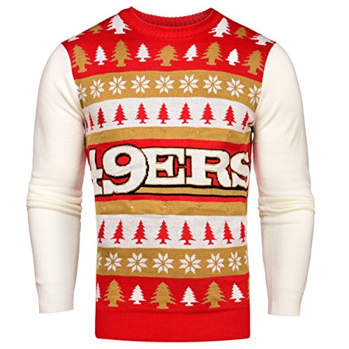 NFL San Francisco 49ers Light-Up One Too Many Ugly Sweater, XX-Large Sf Christmas Lights