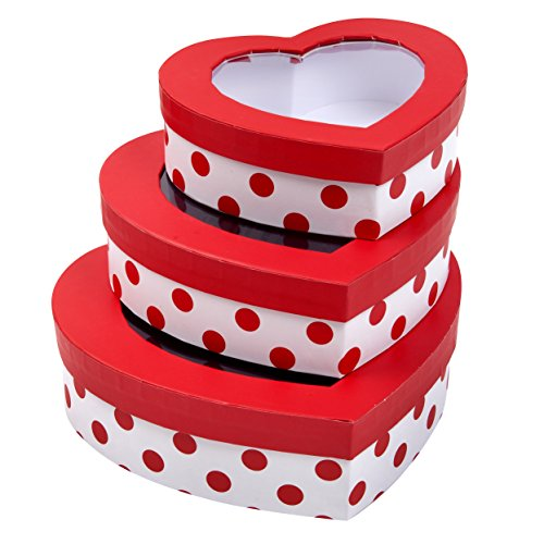 Set of 3 Valentine's Day Heart Shaped Treat Boxes with Window; Cardboard Goody Box Party Favors by Gift Boutique