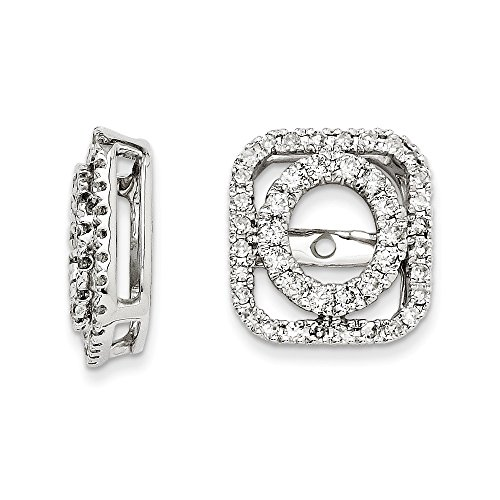Gold Diamond Square Shape Removable Jackets for Round Stud Earrings 1/2 CT - (White-Gold) ()