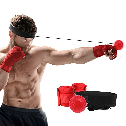 Boxing Reflex Fight Ball + Premium Hand Wraps Great for Training to Improve Reaction time and Speed, Fitness, Punch Exercise for Boxing Reactions, Fitness Equipment, MMA and other combat sports.