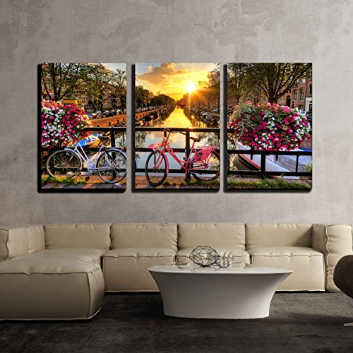 Beautiful Sunrise over Amsterdam the Netherlands with Flowers and Bicycles x3 Panels