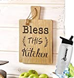 HomeCricket Gift Included- Rustic Country Farmhouse Cutting Board Kitchen Decorating Wall Hanging Decor Saying Bless This Kitchen + FREE Bonus Water Bottle by Home Cricket