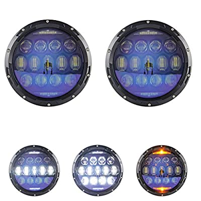 SKUNTUGUANG 1 Pair 7 Inch Blue Projector Lens Led Headlight With White DRL Amber Turn Signal Light for Jeep Wrangler JK CJ TJ Hummber H1 H2