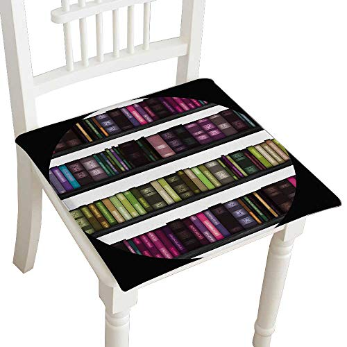 corative Chair pad Seat Seamless Book Shelf Text ure as a Cushion with Memory Filling 14
