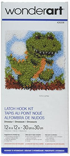 Wonderart Dinosaur Latch Hook Kit, 12
