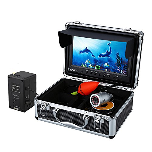Eyoyo Portable 9 inch LCD Monitor Fish Finder HD 1000TVL Fishing Camera Waterproof Underwater DVR Video Cam 15m Cable 12pcs IR Infrared LED for Ice,Lake and Boat Fishing