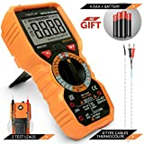 Multimeter Voltage Tester Digital Battery Circuit Automotive Temperature Frequency Continuity Capacitance Resistance True rms 6000 Counts Ohm Volt Amp AC DC NCV Measurement Live Line detector Non-Cont