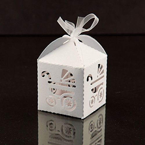 50PCS Laser Cut Baby Shower Party Birthday Decorations Gift Boxes Wedding Favor Ribbons Candy Boxes(Baby Carriage White)