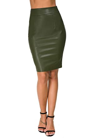 578b5ab915 Image Unavailable. Image not available for. Color: Womens Faux Leather Pencil  Skirt Slim Fit Elegant Stretch High Waist ...