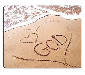 Love God Drawn in Sand Mouse Pads Customized Made to Order Support Ready 9 7/8 Inch (250mm) X 7 7/8 Inch (200mm) X 1/16 Inch (2mm) High Quality Eco Friendly Cloth with Neoprene Rubber MSD Mouse Pad Desktop Mousepad Laptop Mousepads Comfortable Computer Mouse Mat Cute Gaming Mouse_pad by icecream design