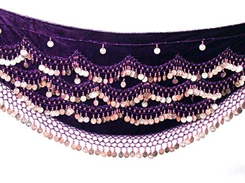 Velvet Belly Dance Hip Scarf Coin & Bead Belt Wrap UK FITS S M L XL to 4XL PLUS SIZE (UK 8 - 24) (PURPLE GOLD, XL to 4XL PLUS SIZE UK 18 - 22/24) - Belly Dancer Costume Uk