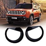 Front Light Bezel Upgrade Clip-in Version ABS Angry Bird Style Headlight Cover Trim for Jeep Renegade 2015 2016 2017