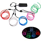 Blazing Fun Shapable EL Wire, Neon Glowing Super Bright LED Cable/EL Wire With AA Battery Inverter For Halloween Christmas Party DIY Decoration, 5 by 1 Meter(White/Blue/Red/Green/Pink)