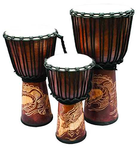 New Djembe Standard linecarv, 24'' tall, 12'' head, NK190 Dragon by Terre
