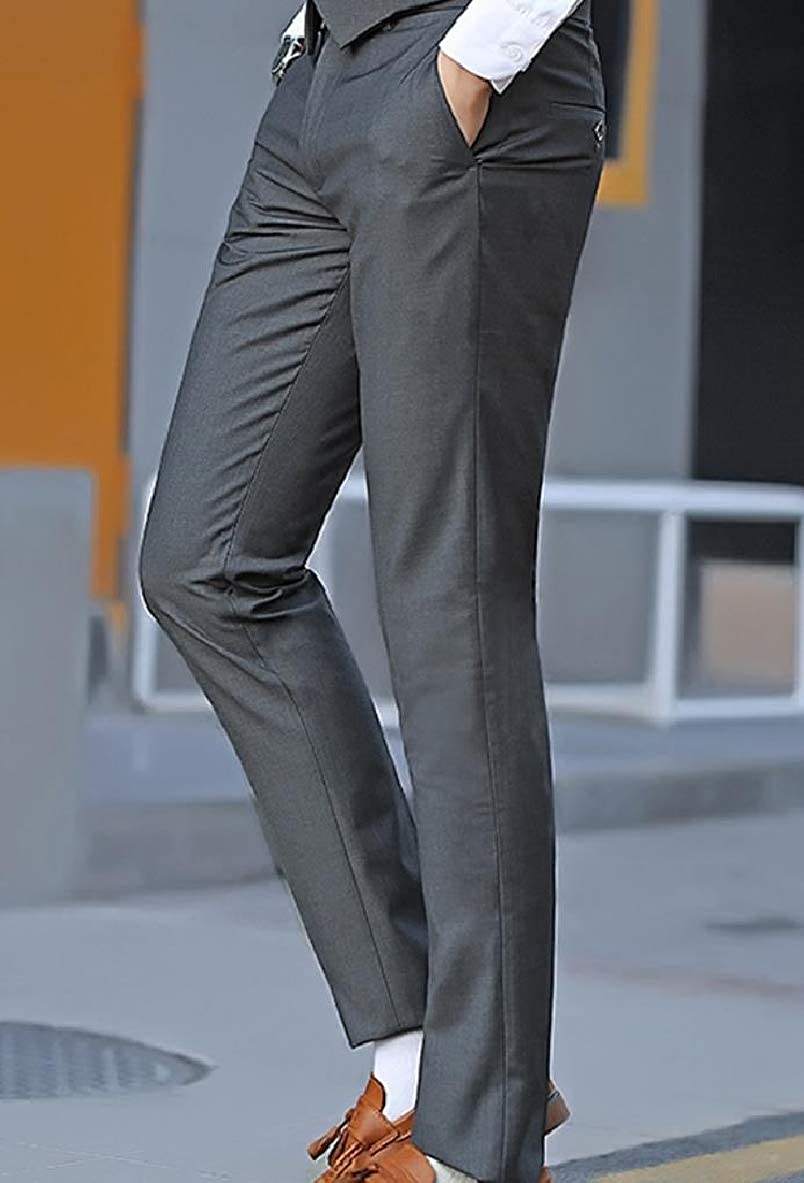 Unastar Men Casual Flat Front Straight-Fit No-Iron Business Work Dress Pant