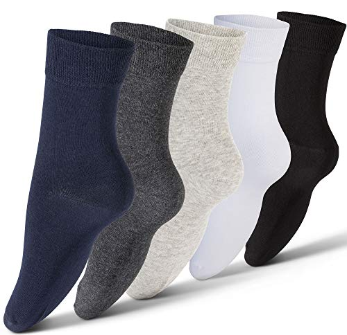 Plain Cotton Socks For Men, 5 Pack - Mens Casual, Dress, Athletic, Crew Socks