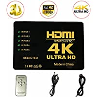 ILOVA 4K HDMI Switch 5 Port Video Switcher Supports 3D Full 1080P Ultra HD HDMI Splitter with IR Remote