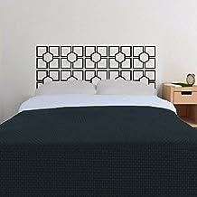 Wall Decal Geometric Headboard Dorm Decor Circle Shape Pattern Squares (Black, King)