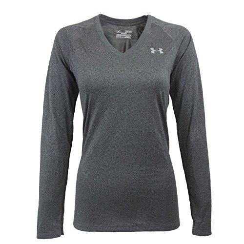 Under Armour Women's Tech Long Sleeve Semi-Fitted V-Neck Tee, Graphite/Steel, M