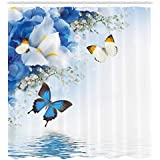 Ambesonne Floral Shower Curtain, Blue and White Wild Flowers with Monarch Butterflies Lily Therapy Zen Spa Art Prints, Cloth Fabric Bathroom Decor Set with Hooks, 75 Inches Long, Pale Blue