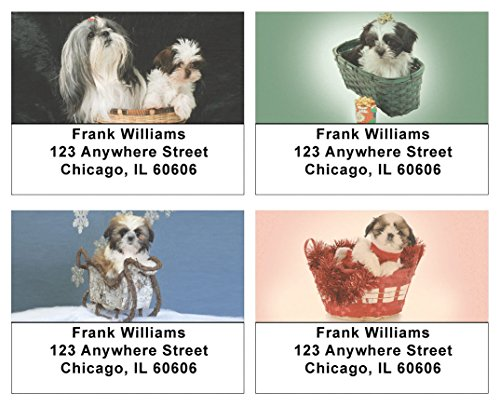 Basket of Shih Tzus Address Labels