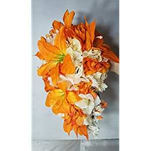 Orange Rose Tiger Lily Cascading Bridal Wedding Bouquet & Boutonniere 110