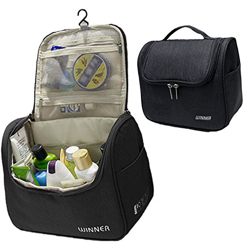 Price comparison product image Hanging Toiletry Bag,  MoreTeam Large Travel Toiletry Kit Cosmetic Bag Organizer with 12 pockets,  Large Capacity with Sturdy Hanging Hook for Men,  Women,  Business Trip,  Vacation,  Camping (Black)