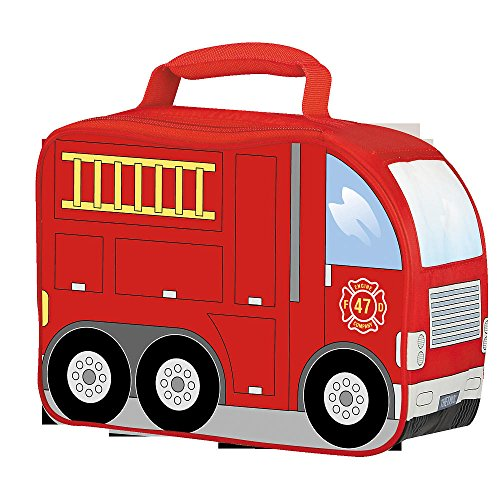 Thermos Insulated Firetruck Novelty Boys Lunch Kit Bag Fire Truck Lunch Box