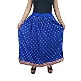 Mogul Interior Womans Skirt Flare Vintage Golden Border Boho Long Skirts M/L