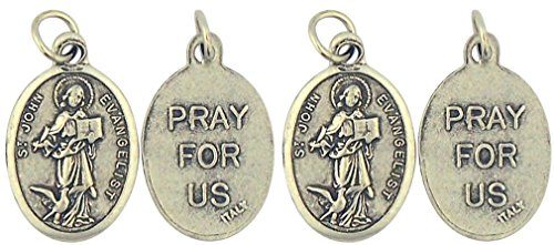 Lot of 4 Saint St John the Evangelist 1 Inch Silver Tone Catholic Saint - Icon Evangelist