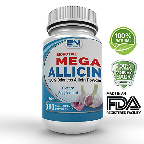 Mega Allicin 100% Allicin from Garlic 180mg/180 vCaps, Odorless, Non-GMO, and Gluten-Free (180 Count) by BuyNaturally