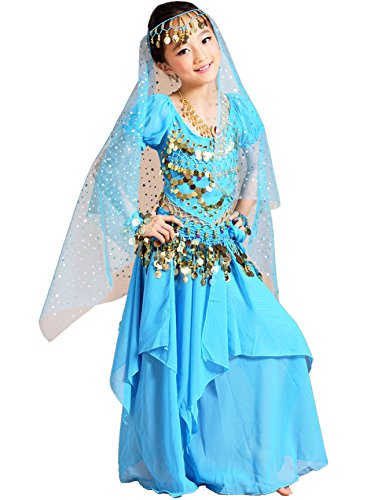 Astage Girls Princess Costume Halloween Dance Sets Sky Blue L 11 to 13 (Halloween Belly Dancer Costumes)