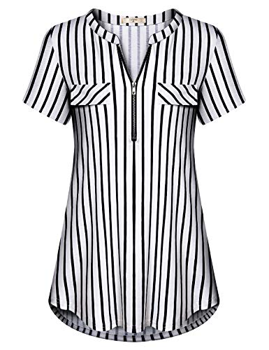 (Luranee Striped Shirt Women, Misses Work Blouses Nice Professional Tops Short Sleeve Split V Neck Breathable Comfortable Flattering Tunics Semi Formal Office Polo Outfits,Black Vertical Stripes Large)