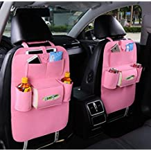 Geekercity 1 Pack Car Back Seat Organizer Woolen Felt Auto Backseat Kick Mat Protectors Storage Bag Pouch for Kids, Bottles, Tissue Box, Toys, iPad, Tablet, Books, Glasses, Cellphone (Pink)