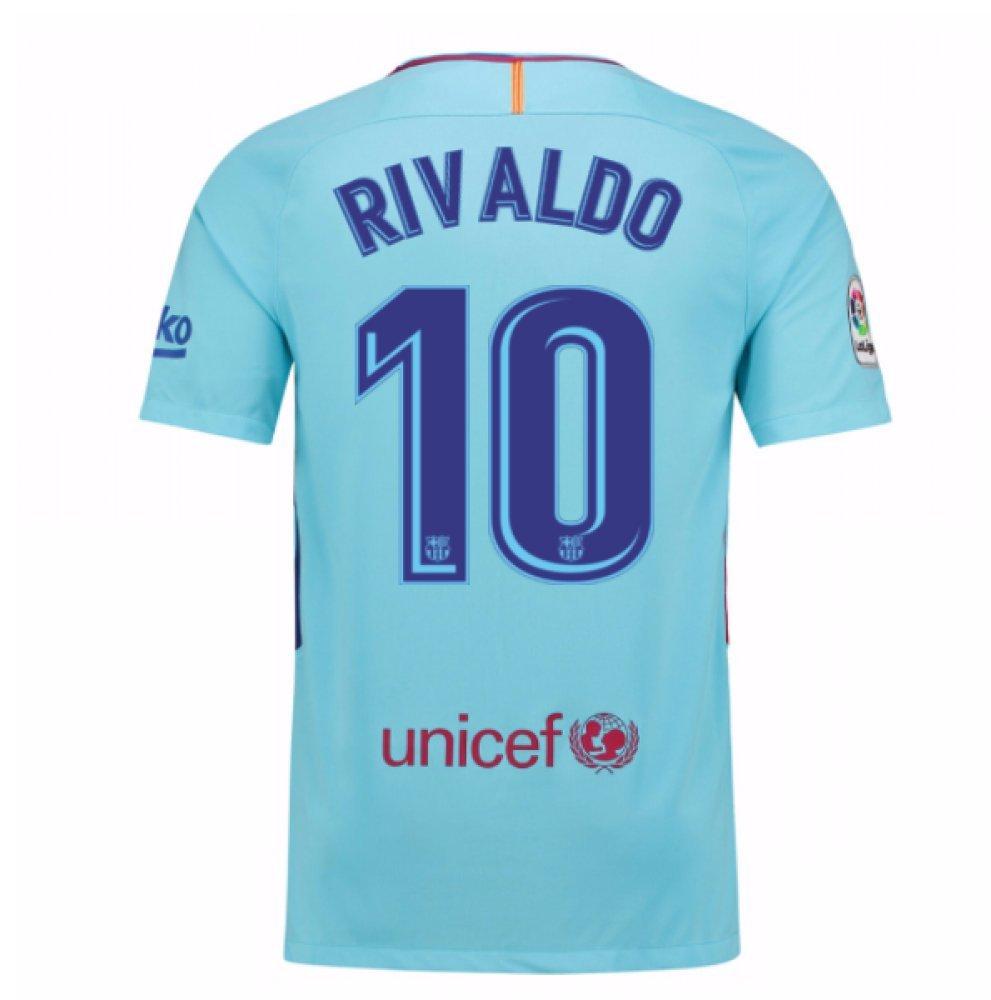 2017-2018 Barcelona Away Football Soccer T-Shirt Trikot (Rivaldo 10) - Kids